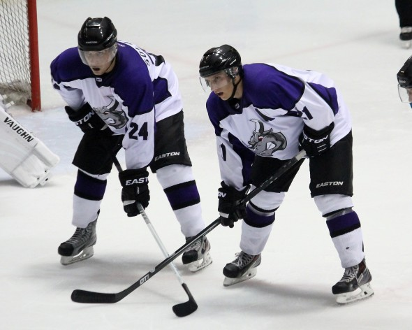 Photo Courtesy of David Dudich: #21 Matt Lison and #24 Alexey Solovyev had a goal and an assist each to get to a shootout but the Brahmas came up short.