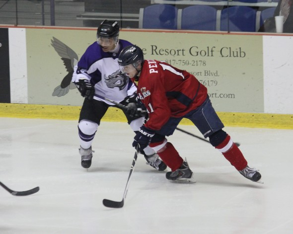 Photo courtesy of David Dudich: Carter Penzien and the Bulls were too much for the Brahmas in a 2 - 0 shutout.
