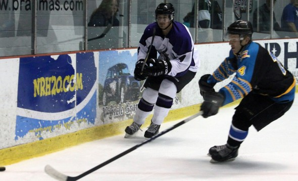 Photo Courtesy of David Dudich: Nick Blase's second period goal gave the Brahmas a 2 - 0 lead, but they could not hold it settling for a single point in a 3 - 2 in a shootout loss.