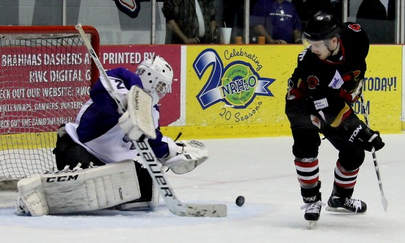 Photo courtesy of David Dudich: TJ Black backstopped the Lone Star Brahmas to a 3 - 0 win over the Corpus Christi Icerays, picking up his second shutout of the season.