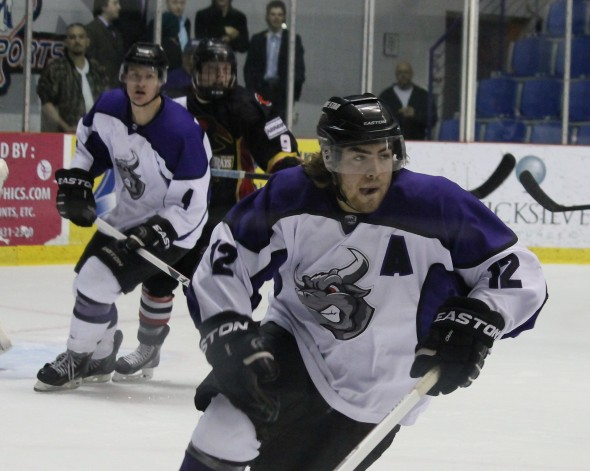 Photo Courtesy of David Dudich: Brahmas Alternate Captain Anthony Mousseau was selected to the South Division team for the 2014 NAHL Top Prospects Tournament.