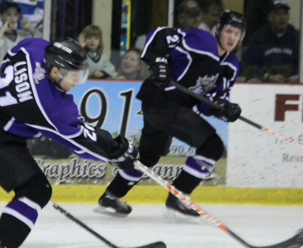 Photo Courtesy of David Dudich: Sebastian Vidmar had his best night yet in a Brahmas sweater scoring twice in regulation then adding the shootout game winner. The Brahmas came back from two down, twice to scratch out the 5 - 4 win.