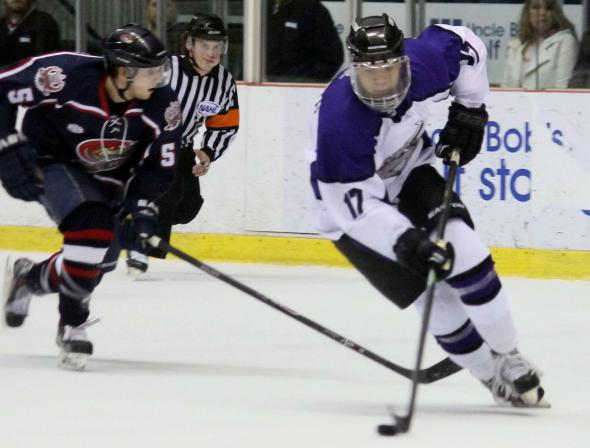 Photo Courtesy of David Dudich: Thomas Aldworth scored his first goal in a Brahmas Sweater and first in the NAHL Saturday night. The goal proved to be the game winner in the 2 - 1 victory.