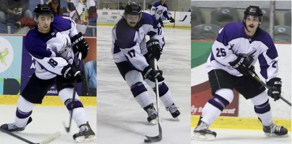 Photo Courtesy of David Dudich: Brahmas trade Forwards RJ Salvato, Paul Fregeau and Todd Koritzinsky prior to trade deadline.