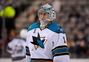 Apr 3, 2012; Dallas, TX, USA; San Jose Sharks goalie Thomas Greiss (1) warms up before the game against the Dallas Stars at the American Airlines Center. The Sharks defeated the Stars 5-2. Mandatory Credit: Jerome Miron-US PRESSWIRE