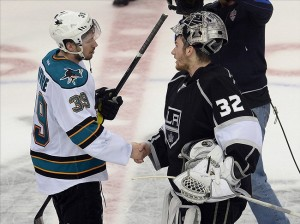 May 28, 2013; Los Angeles, CA, USA; Los Angeles Kings goalie Jonathan Quick (32) shakes hands with San Jose Sharks center Logan Couture (39) after game seven of the second round of the 2013 Stanley Cup Playoffs against the San Jose Sharks at the Staples Center. Kings won 2-1. Mandatory Credit: Jayne Kamin-Oncea-USA TODAY Sports