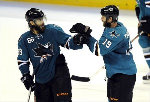 Joe Thornton celebrating
