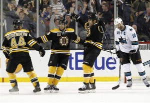 Boston Bruins celebrate last second goal in 2-1 win over San Jose Sharks Thursday night. Mandatory Credit; Canadian Press