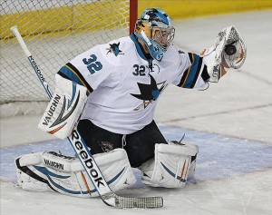 Nov 15, 2013; Edmonton, Alberta, CAN; San Jose Sharks goaltender Alex Stalock (32) makes a save against the Edmonton Oilers during the first period at Rexall Place. Mandatory Credit: Perry Nelson-USA TODAY Sports
