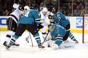 Nov 27, 2013; San Jose, CA, USA; San Jose Sharks goalie Antti Niemi (31) defends the goal against the Los Angeles Kings during the first period at SAP Center at San Jose. Mandatory Credit: Kelley L Cox-USA TODAY Sports