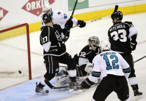 Apr 24, 2014; Los Angeles, CA, USA; San Jose Sharks left wing Matthew Nieto (83) scores a goal on Los Angeles Kings goalie Jonathan Quick (32) during the second period in game four of the first round of the 2014 Stanley Cup Playoffs at Staples Center. Mandatory Credit: Kelvin Kuo-USA TODAY Sports
