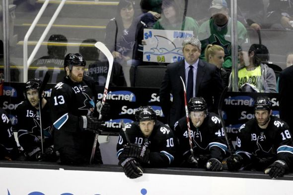 Apr 26, 2014; San Jose, CA, USA; San Jose Sharks head coach Todd McLellan watches action against the Los Angeles Kings during the second period in game five of the first round of the 2014 Stanley Cup Playoffs at SAP Center at San Jose. Mandatory Credit: Cary Edmondson-USA TODAY Sports