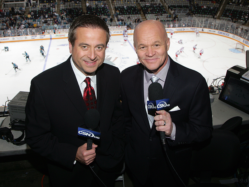 Sharks TV Broadcast Team of Randy Hahn and Drew Remenda. The Sharks terminated Remenda as their color analyst this past week. Mandatory Credit: Sharks,.nhl.com