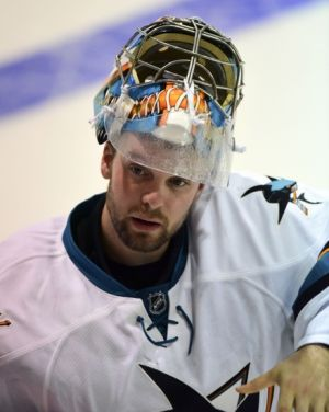 Sep 21, 2015; Victoria, British Columbia, CAN; San Jose Sharks goaltender Aaron Dell (30) awaits start of play against the Vancouver Canucks  during the third period at Q Centre. The Vancouver Canucks won 1-0 in overtime. Mandatory Credit: Anne-Marie Sorvin-USA TODAY Sports