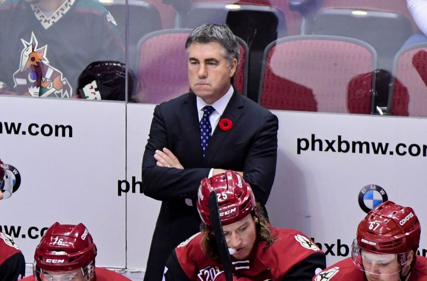 Nov 12, 2016; Glendale, AZ, USA; Arizona Coyotes head coach Dave Tippett looks on during the second period against the Boston Bruins at Gila River Arena. Mandatory Credit: Matt Kartozian-USA TODAY Sports