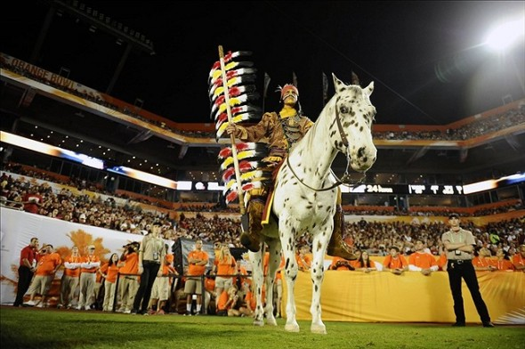 Jan 1, 2013; Miami Gardens, FL, USA; Florida State Seminoles mascot Chief Osceola and his horse Renegade pose for a photo in the second quarter of the game against the Northern Illinois Huskies at the 2013 Orange Bowl at Sun Life Stadium. Mandatory Credit: Ron Chenoy-USA TODAY Sports
