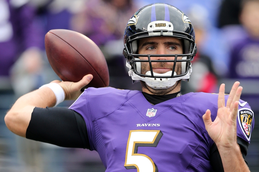 Dec 14, 2014; Baltimore, MD, USA; Baltimore Ravens quarterback <a rel=