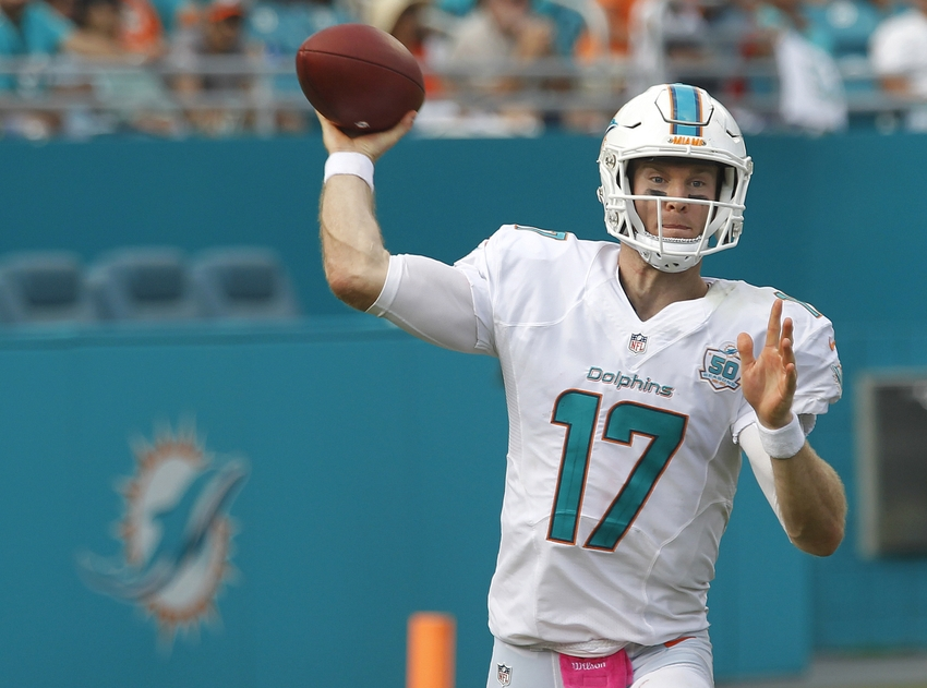 Oct 25, 2015; Miami Gardens, FL, USA; Miami Dolphins quarterback <a rel=