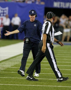 Sep 5, 2012; East Rutherford, NJ, USA; Dallas Cowboys head coach Jason Garrett questions official during the second half against the New York Giants at MetLife Stadium. Dallas Cowboys defeat the New York Giants by a score of 24-17. Mandatory Credit: Jim O