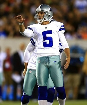 Aug 4, 2013; Canton, OH, USA; Dallas Cowboys kicker Dan Bailey (5) kicks a field goal in the second quarter of the 2013 Pro Football Hall of Fame game against the Miami Dolphins at Fawcett Stadium. Mandatory Credit: Andrew Weber-USA TODAY Sports
