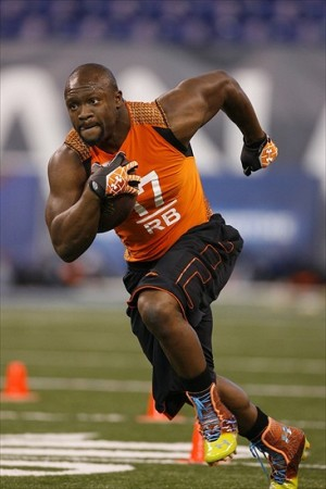 Feb 26, 2012; Indianapolis, IN, USA; Maryland Terps running back Davin Meggett does running drills during the NFL Combine at Lucas Oil Stadium. Mandatory Credit: Brian Spurlock-USA TODAY Sports