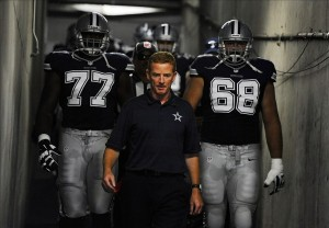 Sep 29, 2013; San Diego, CA, USA; Dallas Cowboys head coach Jason Garrett leads his team down the tunnel prior to the game against the San Diego Chargers at Qualcomm Stadium. Mandatory Credit: Christopher Hanewinckel-USA TODAY Sports