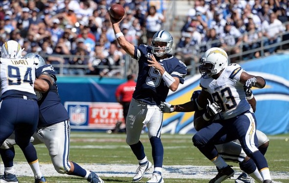 Sep 29, 2013; San Diego, CA, USA; Dallas Cowboys quarterback Tony Romo (9) throws a pass during first half action against the San Diego Chargers at Qualcomm Stadium. Mandatory Credit: Robert Hanashiro-USA TODAY Sports