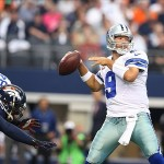 Oct 6, 2013; Arlington, TX, USA; Dallas Cowboys quarterback Tony Romo (9) throws in the pocket against the Denver Broncos at AT