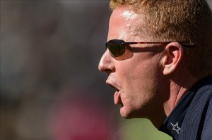 Oct 20, 2013; Philadelphia, PA, USA; Dallas Cowboys head coach Jason Garrett along the sidelines during the first quarter against the Philadelphia Eagles at Lincoln Financial Field. Mandatory Credit: Howard Smith-USA TODAY Sports