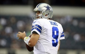 Sep 22, 2013; Arlington, TX, USA; Dallas Cowboys quarterback Tony Romo (9) throws a warm up pass before the game against the St. Louis Rams at AT