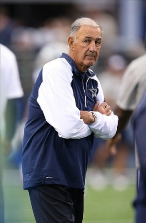 Oct 6, 2013; Arlington, TX, USA; Dallas Cowboys defensive coordinator Monte Kiffin on the field prior to the game against the Denver Broncos at AT