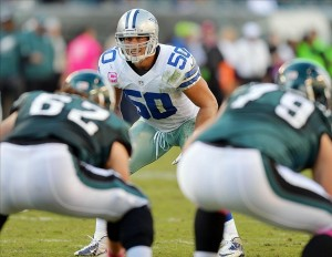 October 20, 2013; Philadelphia, PA, USA; Dallas Cowboys middle linebacker Sean Lee (50) during second half action against the Philadelphia Eagles at Lincoln Financial Field. Mandatory Credit: Jeffrey Pittenger-USA TODAY Sports