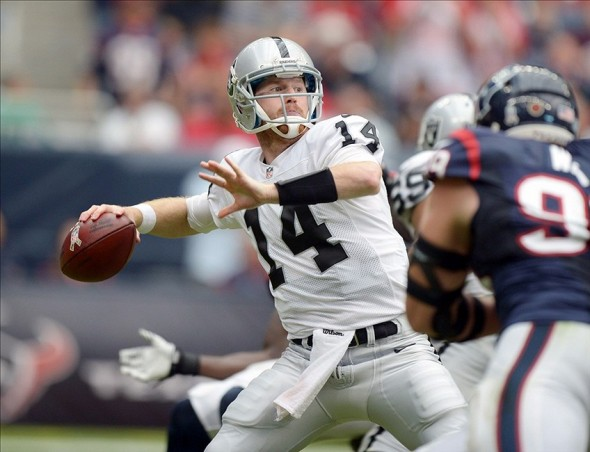 Nov 17, 2013; Houston, TX, USA; Oakland Raiders quarterback Matt McGloin (14) throws a pass against the Houston Texans at Reliant Stadium. Mandatory Credit: Kirby Lee-USA TODAY Sports