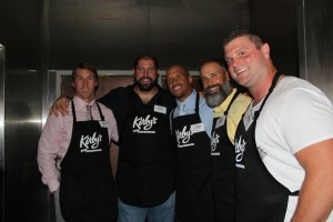 (Left to right) Linebacker Sean Lee, tackle Doug Free, receiver Miles Austin, strength and conditioning coach Brett Bech, and center Phil Costa served tables at DeMarco Murray's first annual Celebrity Waiter Night at Kirby's Steakhouse in Southlake, Texas -- Jordan Ross
