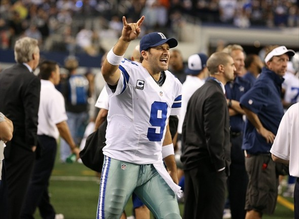 Dec 2, 2012; Arlington, TX, USA; Dallas Cowboys quarterback Tony Romo (9) signals on the sidelines late in the fourth quarter against the Philadelphia Eagles at Cowboys Stadium. The Cowboys beat the Eagles 38-33. Mandatory Credit: Matthew Emmons-USA TODAY Sports