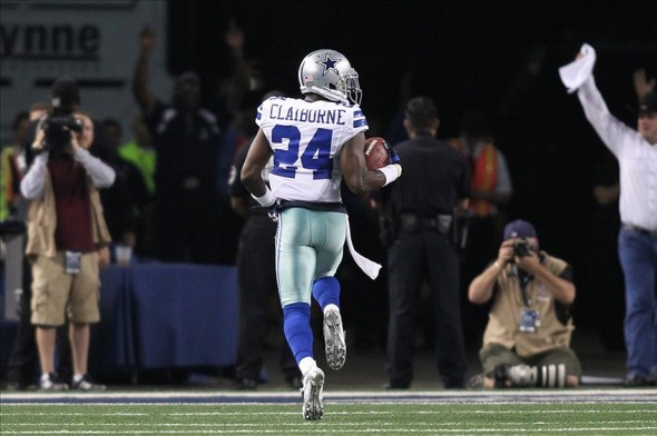 Dec 2, 2012; Arlington, TX, USA; Dallas Cowboys cornerback Morris Claiborne (24) returns a fumble for a touchdown during the fourth quarter against the Philadelphia Eagles at Cowboys Stadium. The Cowboys beat the Eagles 38-33. Mandatory Credit: Tim Heitman-USA TODAY Sports