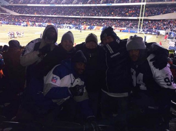 Dec 9, 2013; Chicago, IL, USA; Cowboy Fans Endure Cold. Left to Right: Catouche Body (Jackson, MS), Kyle Knudson (Dallas, TX), Robert Carroll (Jacksonville, FL), Vladimir Peleshak (Salt Lake City, UT), Michael Black (Atlanta, GA) & Henry Adamson (Paterson, NJ). Mandatory Credit: Game DayDog