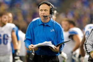 Nov 11, 2012; Minneapolis, MN, USA; Detroit Lions offensive coordinator Scott Linehan talks into his headset during the game with the Minnesota Vikings at the Metrodome. The Vikings win 34-24. Mandatory Credit: Bruce Kluckhohn-USA TODAY Sports