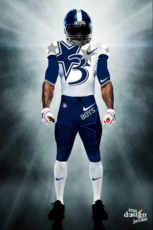 An unofficial redesigned Dallas Cowboys uniform by Mr. Design Junkie. All Rights Reserved Mr. Design Junkie