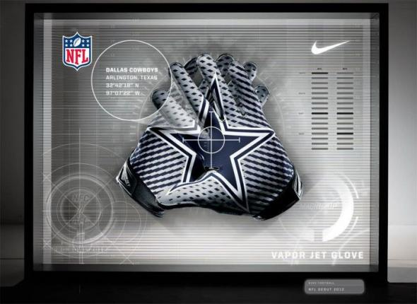 A look at the redesigned gloves designed by Nike for the Dallas Cowboys. All Rights Reserved by Nike