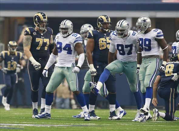 Sep 22, 2013; Arlington, TX, USA; Dallas Cowboys defensive end DeMarcus Ware (94) reacts to getting a record setting sack against the St. Louis Rams at AT&T Stadium. Mandatory Credit: Tim Heitman-USA TODAY Sports