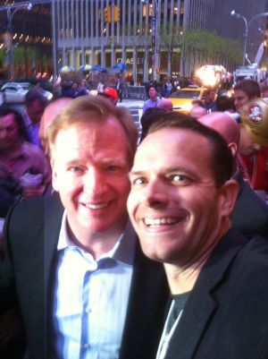 National Football League Commissioner Roger Goodell takes a selfie with NFL writer Matt Thornton of MattsCowboys - Mandatory Photo Credit Matt Thornton