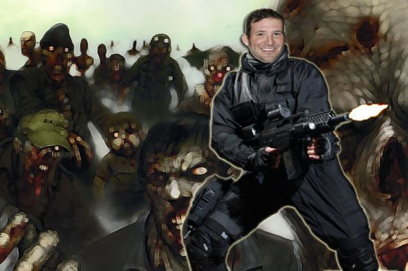 Artist rendering of Dallas Cowboys quarterback Tony Romo fighting off zombies. All photos used in this compilation allowed alteration and commercial use through creative commons: attribution or were Public Domain. Sources: Altered Background credit: Vermyn-N. link: http://fav.me/d2qe32v; Tony Romo photo public domain link: http://en.wikipedia.org/wiki/File:Tony_Romo_before_2008_Pro_Bowl.JPEG ; Altered Soldier Image credit: jagged-eye - source link: http://fc06.deviantart.net/fs71/i/2012/003/1/b/stock_soldier_17___without_helmet_by_freeport-d4l6igw.jpg