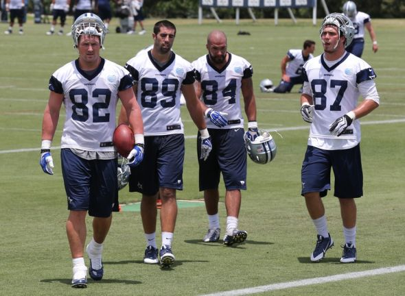 Jun 17, 2014; Dallas, TX, USA; Dallas Cowboys tight ends Jason Witten (82) Gavin Escobar (89) James Hanna (84) and Jordan Najvar (87) during minicamp at Cowboys headquarters at Valley Ranch. Mandatory Credit: Matthew Emmons-USA TODAY Sports