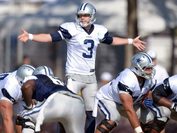 Jul 31, 2014; Oxnard, CA, USA; Dallas Cowboys quarterback Brandon Weeden (3) takes the snap at training camp at the River Ridge Fields. Mandatory Credit: Kirby Lee-USA TODAY Sports