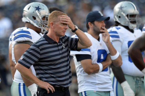 Aug 7, 2014; San Diego, CA, USA; Dallas Cowboys head coach Jason Garrett before the game against the San Diego Chargers at Qualcomm Stadium. Mandatory Credit: Jake Roth-USA TODAY Sports