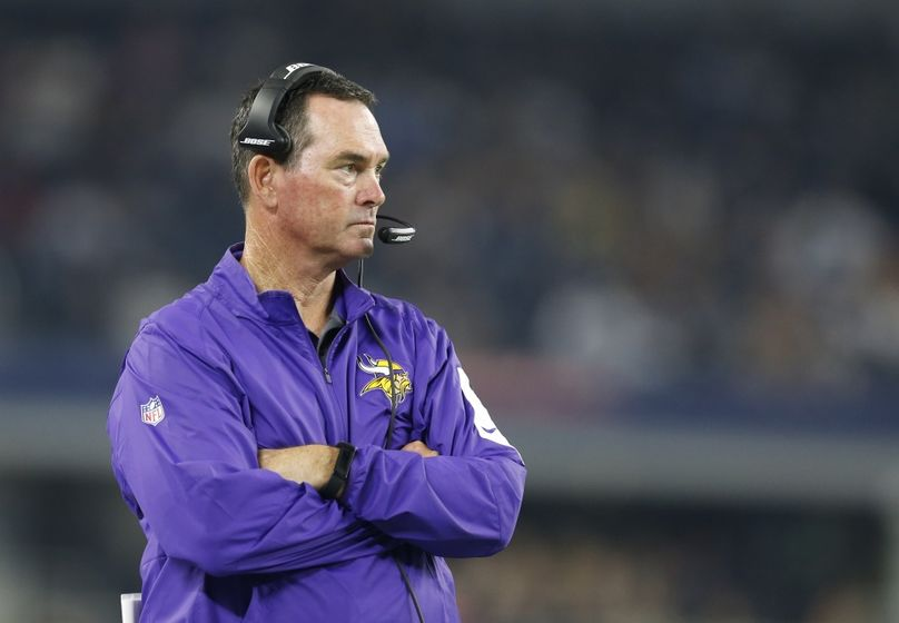 Aug 29, 2015; Arlington, TX, USA; Minnesota Vikings head coach Mike Zimmer on the sidelines during the game against the Dallas Cowboys at AT&T Stadium. Mandatory Credit: Matthew Emmons-USA TODAY Sports
