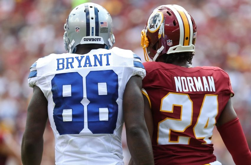 Sep 18, 2016; Landover, MD, USA; Dallas Cowboys wide receiver Dez Bryant (88) talks to Washington Redskins cornerback Josh Norman (24) on the field in the first quarter at FedEx Field. Mandatory Credit: Geoff Burke-USA TODAY Sports