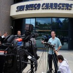 May 2, 2012; San Diego, CA, USA; San Diego Chargers head coach Norv Turner addresses the media at Charger Park after the news of the death of former Chargers player Junior Seau. Mandatory Credit: Jake Roth-US PRESSWIRE