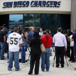 May 2, 2012; San Diego, CA, USA; San Diego Chargers head coach Norv Turner (middle) addresses the media at Charger Park after the news of the death of former Chargers player Junior Seau. Mandatory Credit: Jake Roth-US PRESSWIRE